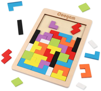 This is an image of kid's wooden tetris puzzle