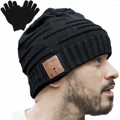 This is an image of a man wearing a beanie headphone.