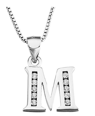 This is an image of a sterling silver initial pendant necklace for teens.