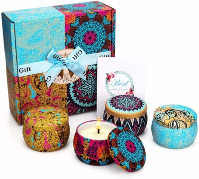 This is an image of a pack scented candles gift set for women.