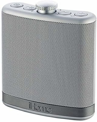 This is an image of a silver flask shaped bluetooth speaker for men by iHome.