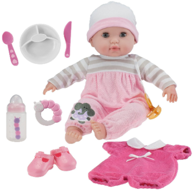 This is an image of toddler's doll set in colorful colors