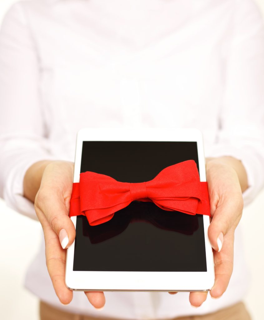 this is an image of a gift wrapped iPad