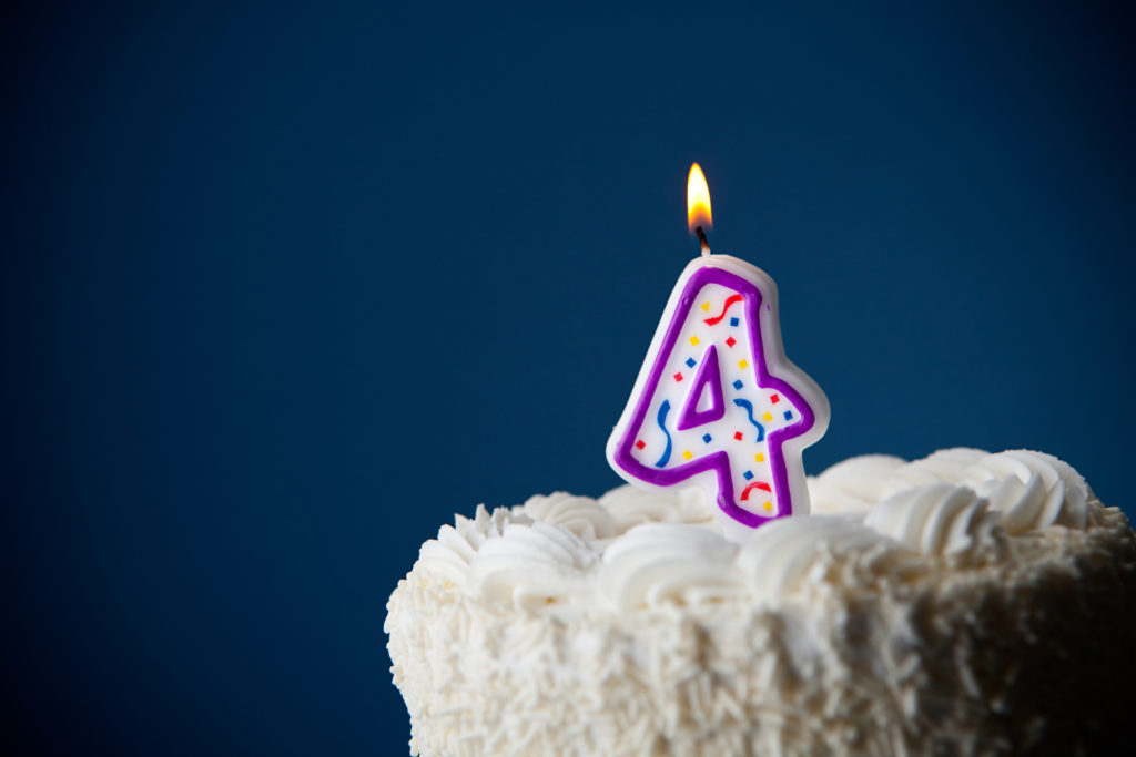 this is an image of a 4th birthday candle