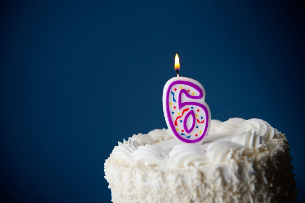this is an image of a cake with a number 6 candle on it
