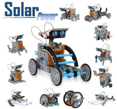 This is an image of kid's solar robot kit