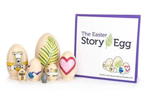 This is an image of Easter Egg Story Book and 7 Colorful Wooden Nesting Eggs