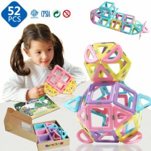 This is an Image of Magnetic Building Blocks Tiles With a Girl