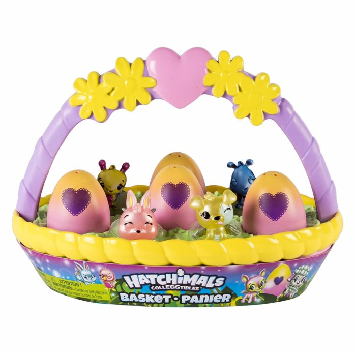 This is an Image of a Basket With 6 Colorful Eggs