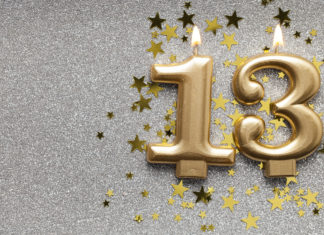 this is an image of Number 13 gold celebration candle on star and glitter background