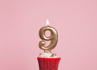 this is an image of a 9th birthday candle