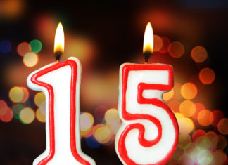 this is an image of Birthday candles celebrating of 15th anniversary