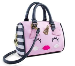 This is an image of girl's pink crossbody barrel bag with unicorn design