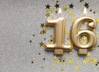 this is an image of 16th birthday decorations gold celebration candle on sparkly star background