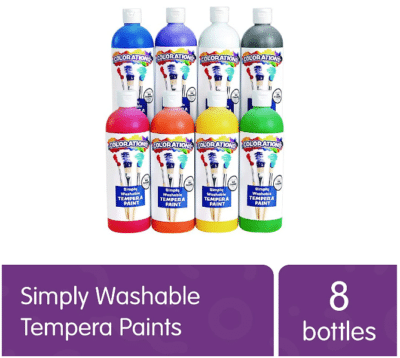 This is an image of kid's Washable paints with 16 oz set , pack of 8 bottles