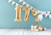 this is an image of Happy 17th birthday party celebration balloon, bunting and gift box.