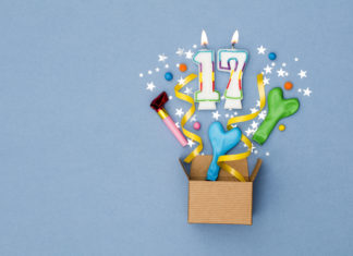 this is an image of a 17th bithday present background. Gift box exploding with party decorations