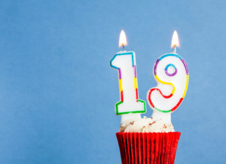 this is an image of a 19th birthday gift cupcake