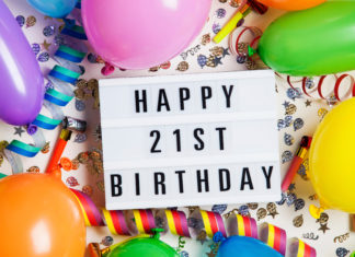 this is an image of a Happy 21st birthday celebration message on a lightbox with balloons and confetti